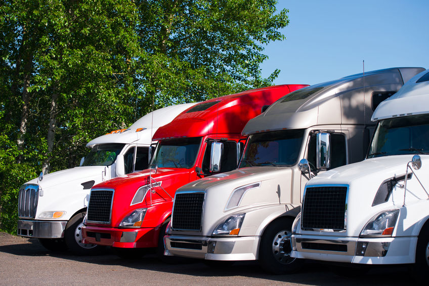 Different models of powerful professional semi trucks for modal transport commercial goods, stand in a row on a truck stop parking lot in anticipation of the continuation of the working traffic schedule surrounded by green trees. How to Report Unsafe Trucking Companies, Dan Rose Law, truck accident lawyer